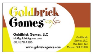 GoldBrick Games business card.