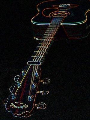 Photoshop Neon Glow Takemine Guitar (Martin Copy)